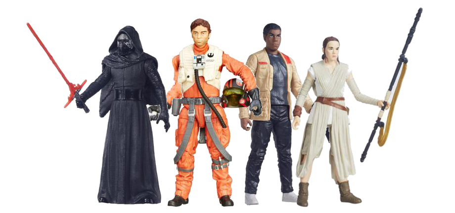 The Force Awakens - Kylo Ren, Poe Dameran, Finn, and Rey figurines standing in tableau.